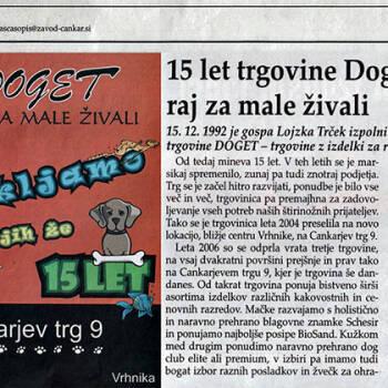 15 let trgovine Doget