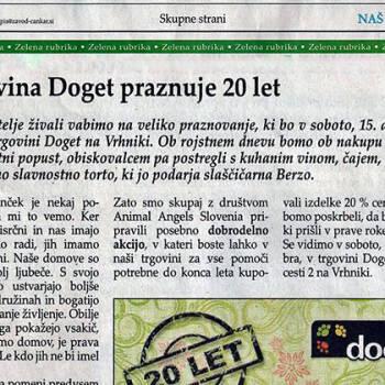 Trgovina Doget praznuje 20 let